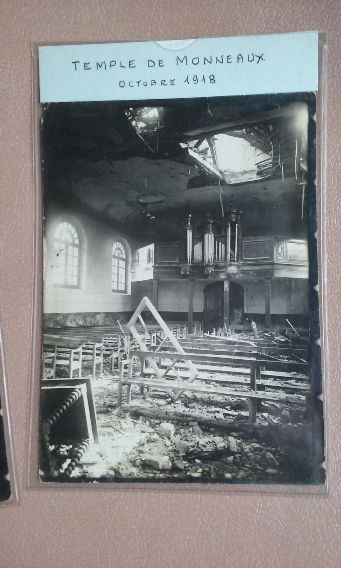 le temple après les bombardements de 1914