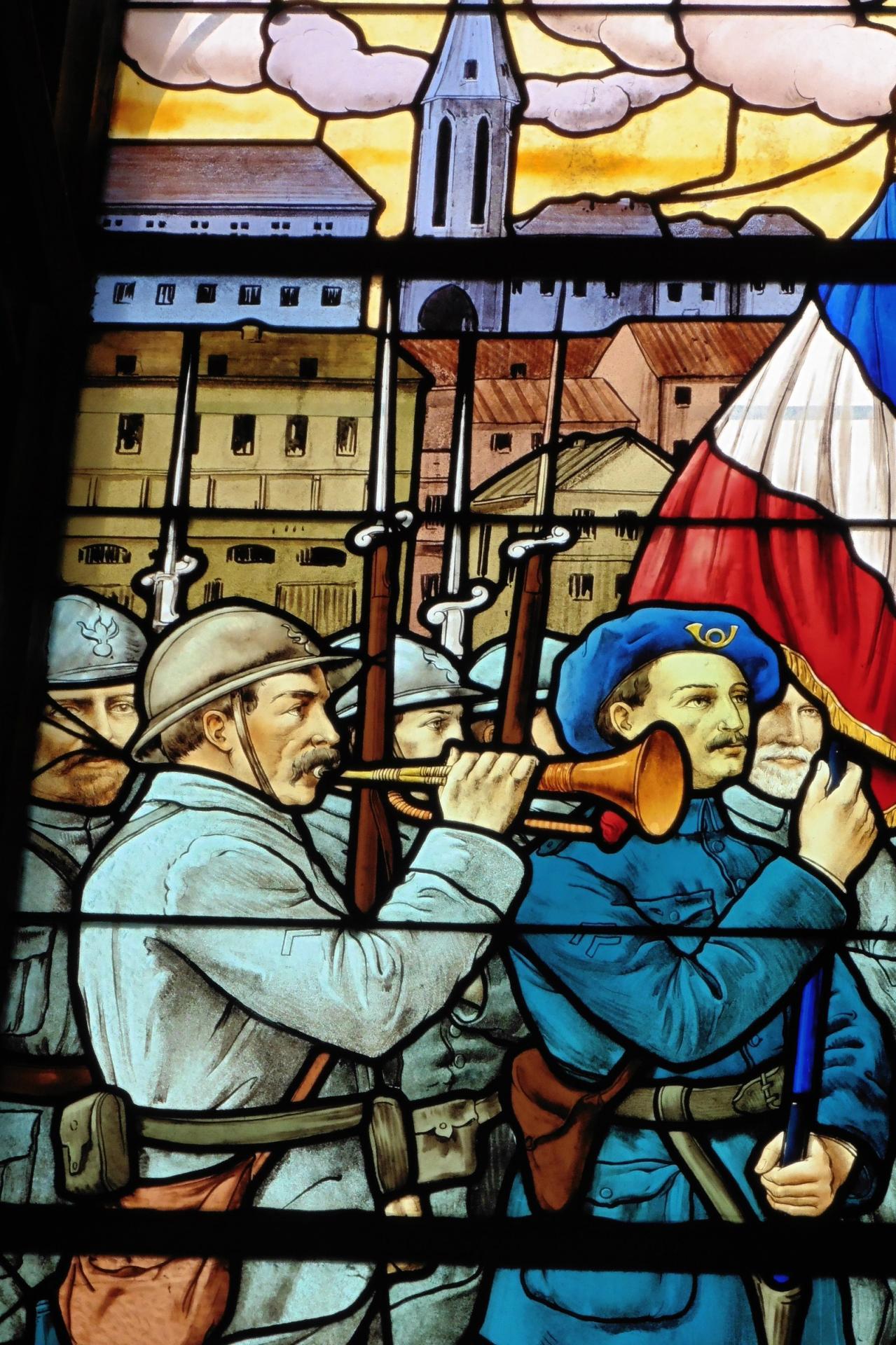Détail du vitrail La Fayette